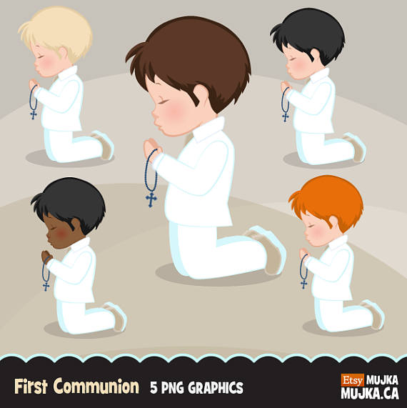 For characters graphics praying. Boys clipart first communion