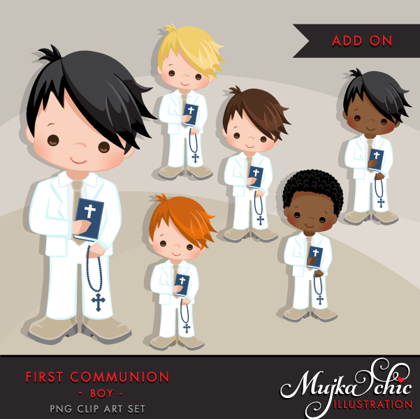 For white mujka printable. Boys clipart first communion