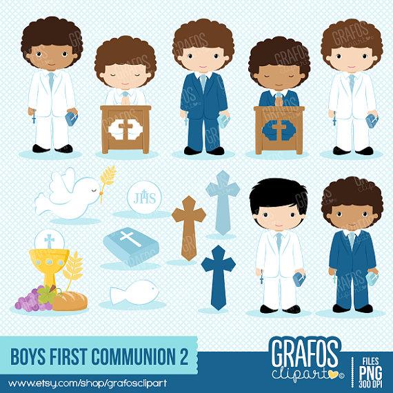 Boys clipart first communion. Digital set my