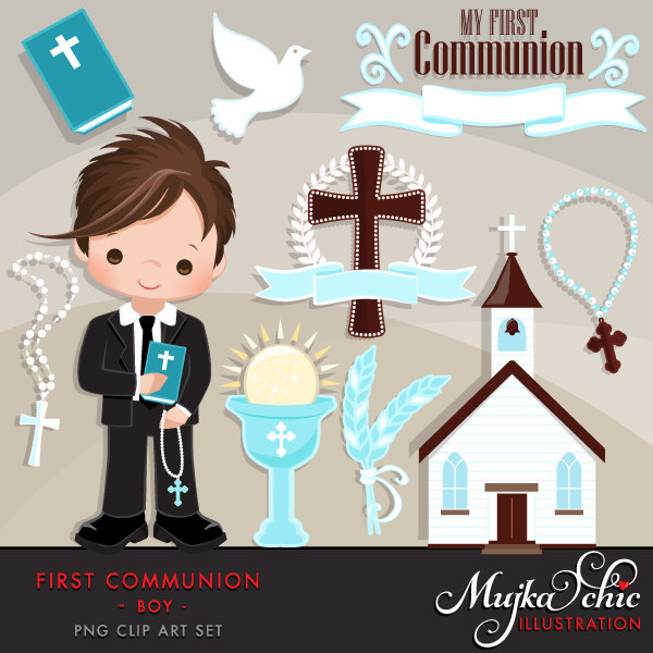 For cute characters . Boys clipart first communion