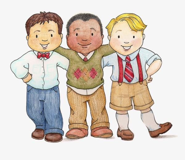 Children s cartoon illustration. Boy clipart friendship