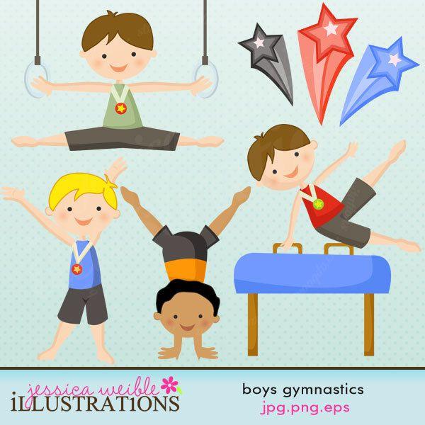 Boys Gymnastics Cute Digital Clipart