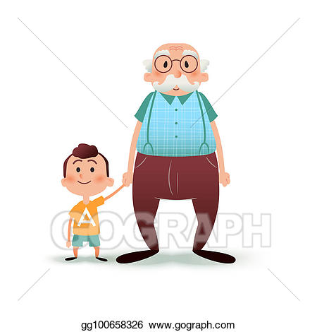 Boy clipart man. Stock illustrations grandfather and