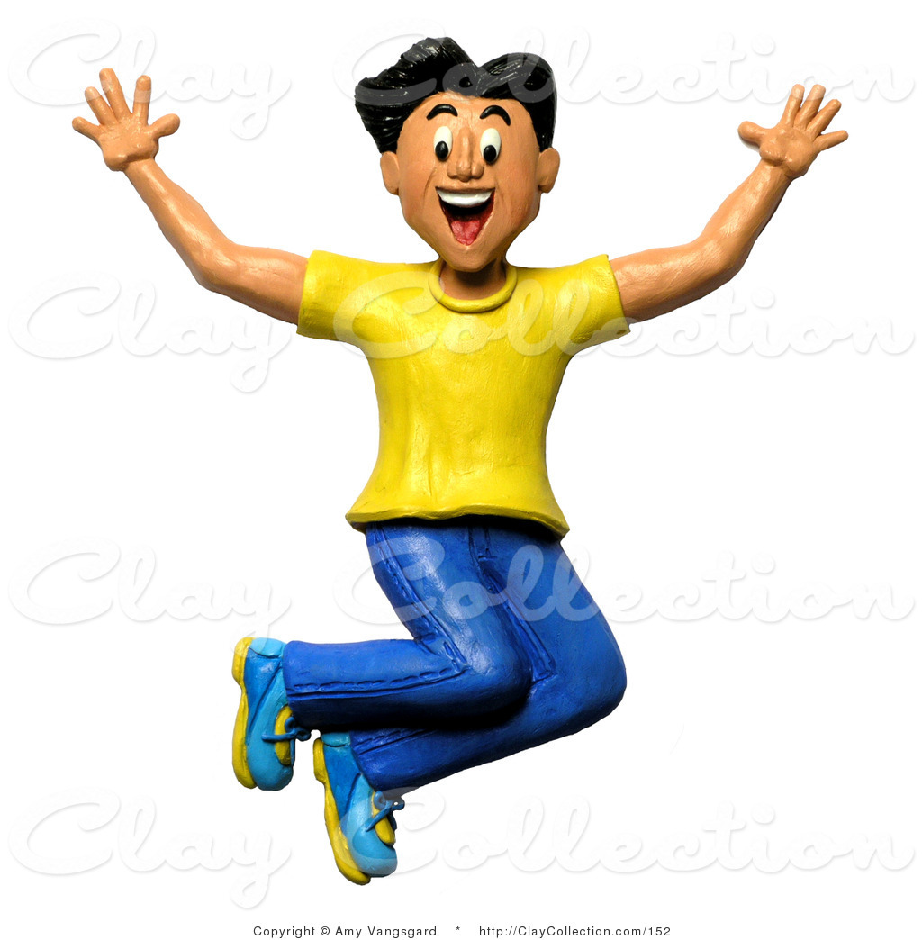 Boy clipart man. Excited panda free images
