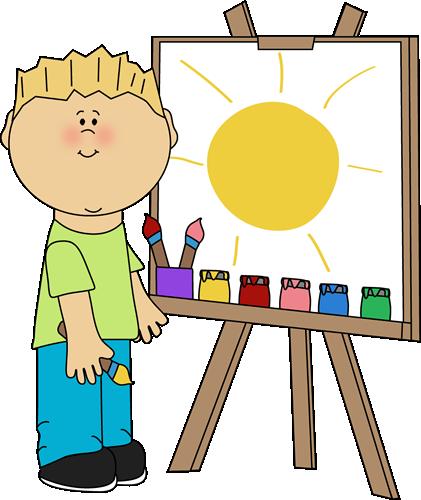 Boy Painting on an Easel Clip Art