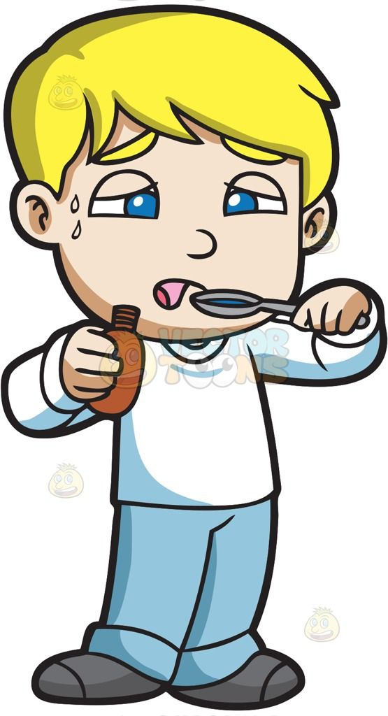 Boy clipart sick. A taking spoonful of