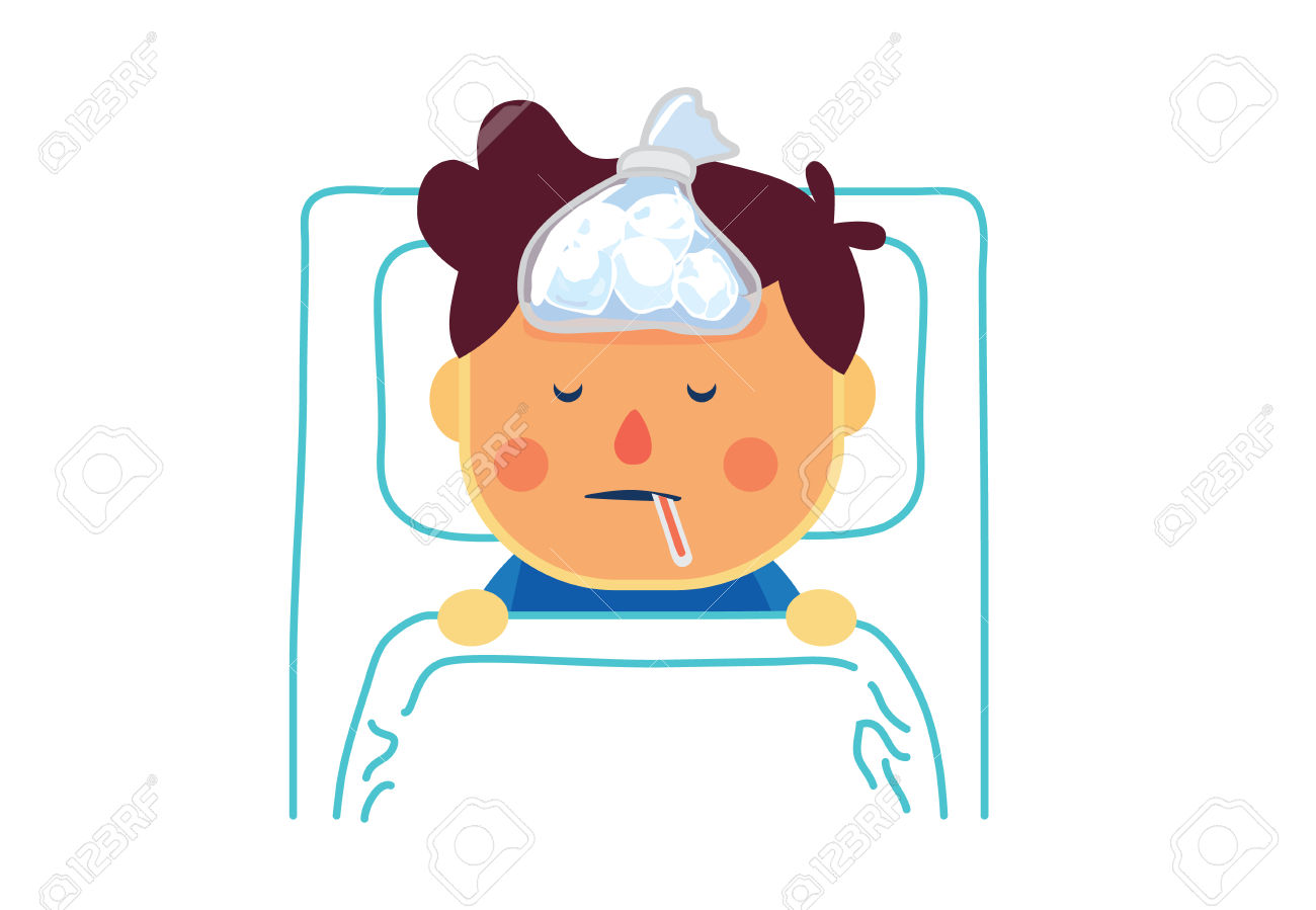 Boy clipart sick. High fever pencil and