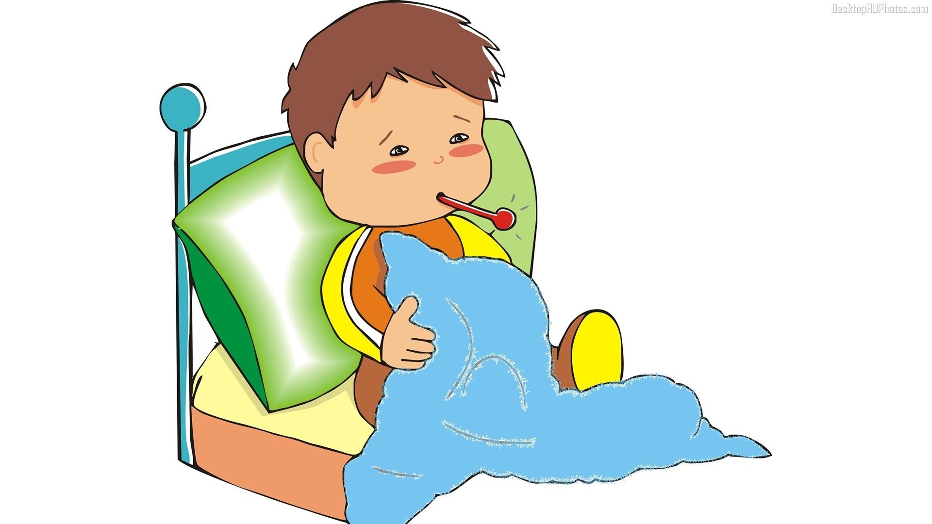 New kid cartoon images. Boy clipart sick