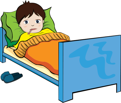 The health and nutrition. Boy clipart sick