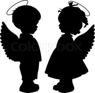 Guardian angels little girl. Boy clipart silhouette