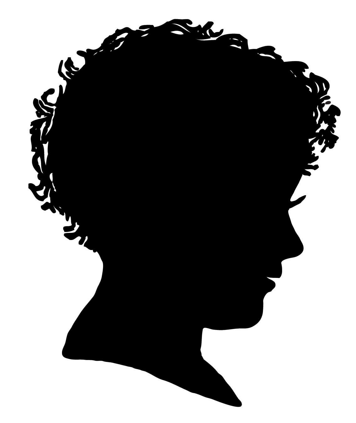 Vintage clip art girl. Boy clipart silhouette