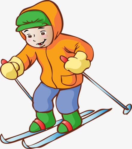 Boys clipart skiing. Cartoon boy painting little