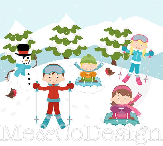 Ski fun cute kids. Boys clipart skiing