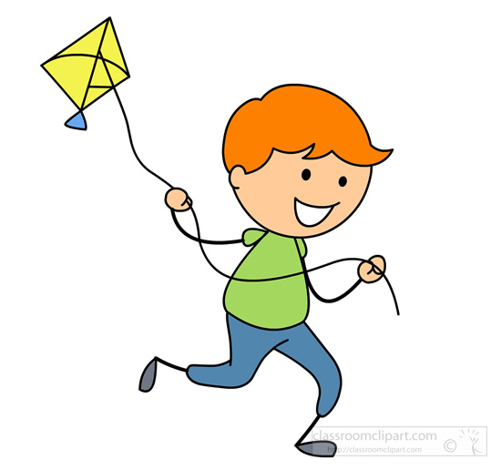 Boy clipart stick figure. Children flying kite classroom
