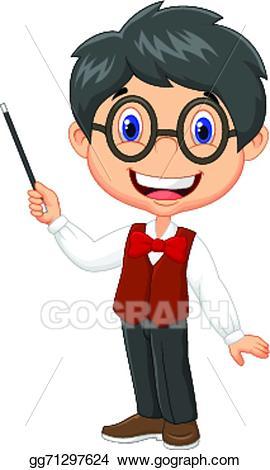 Clipart teacher boy. Vector art cartoon teaching