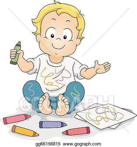 Boy clipart toddler. Vector stock drawing doodles