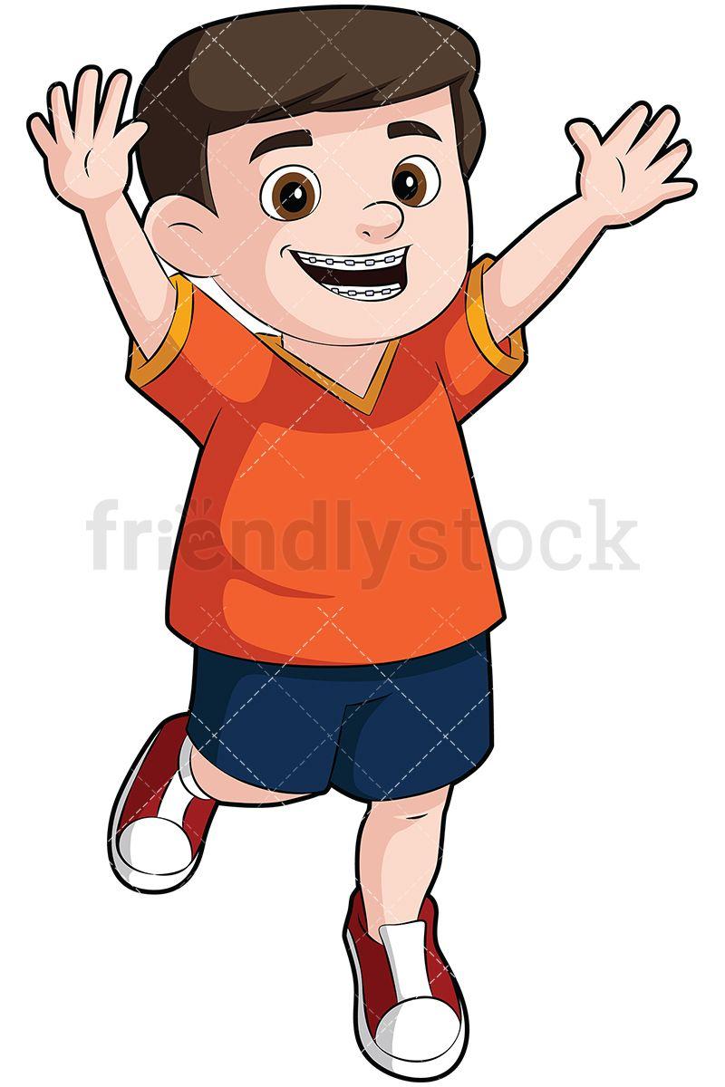 Braces clipart large. Happy boy wearing vector