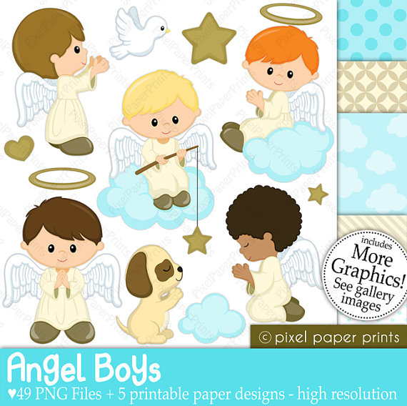 Digital paper and clip. Boys clipart angel