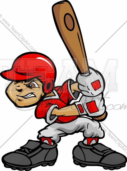 Kid player boy batting. Boys clipart baseball