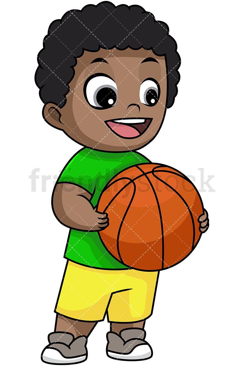 Happy black boy holding. Boys clipart basketball player