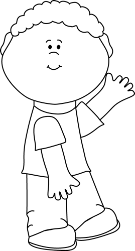 Boys clipart black and white. Boy waving clip art