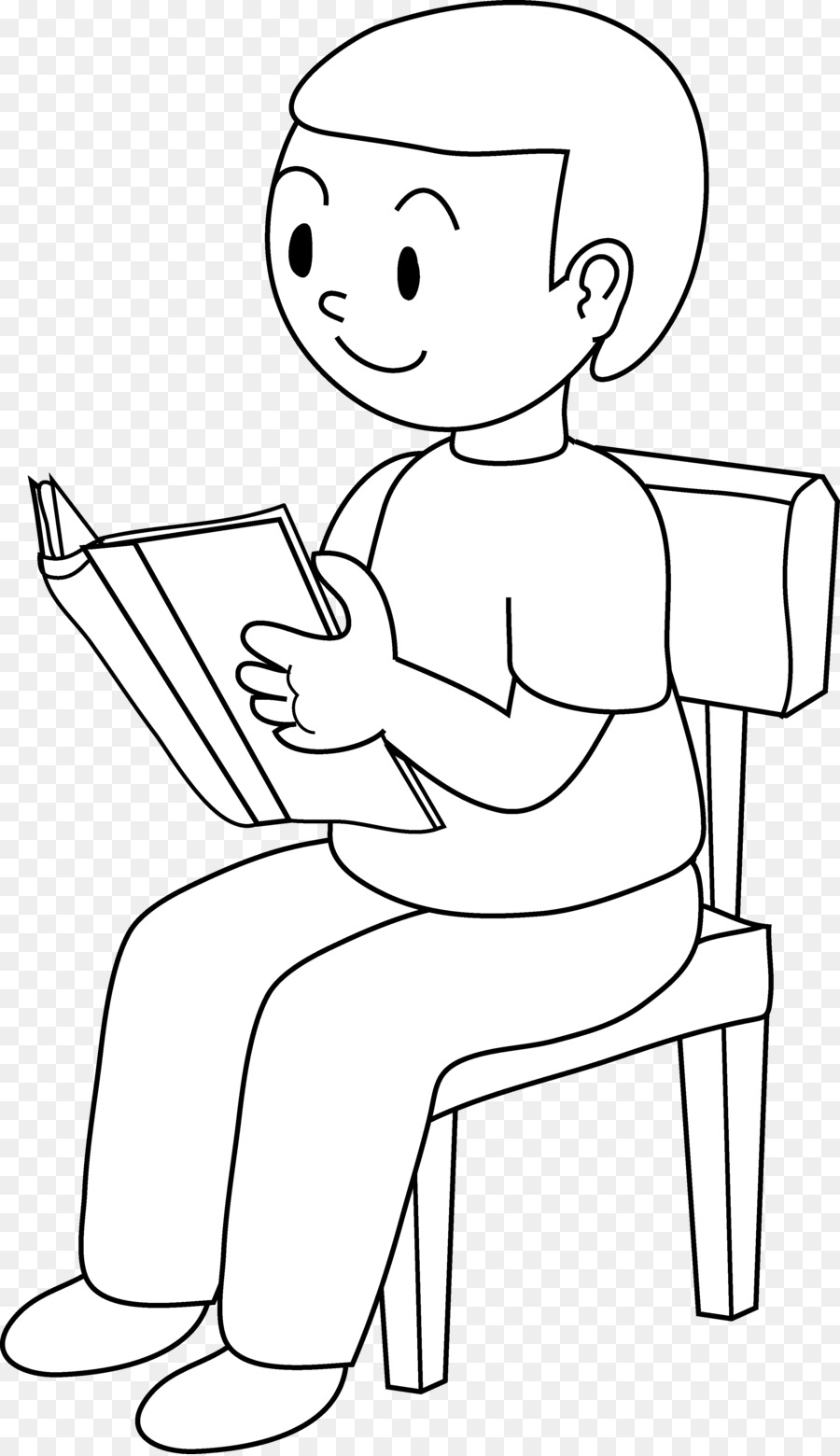 Clipart chair boy. Sitting black and white
