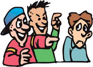 Stop bullying at school. Boys clipart bully
