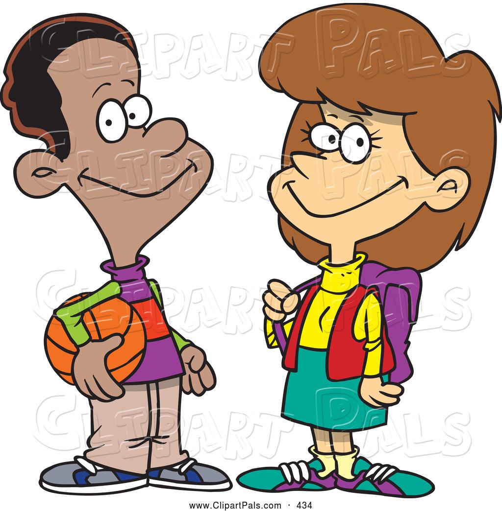 Boys clipart cartoon. Talking school