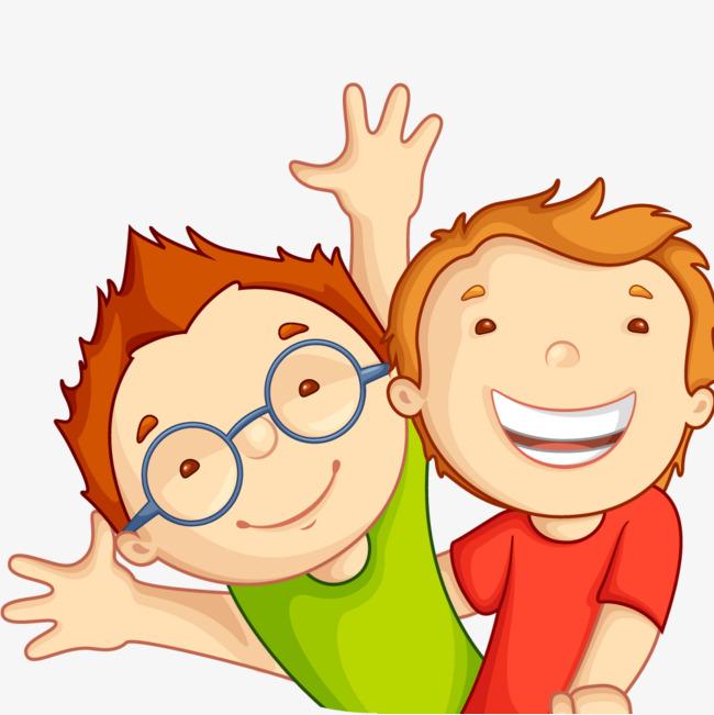Boys clipart cartoon. Two little boy happy
