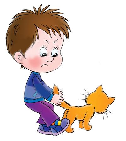 Boys clipart cartoon. Cat for kid pencil
