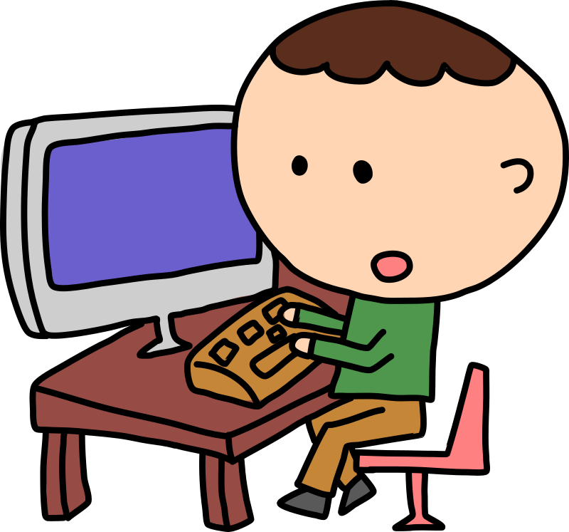 Boys clipart computer. Craft projects electronic clipartoons