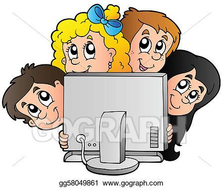 Boys clipart computer. Eps illustration cartoon kids