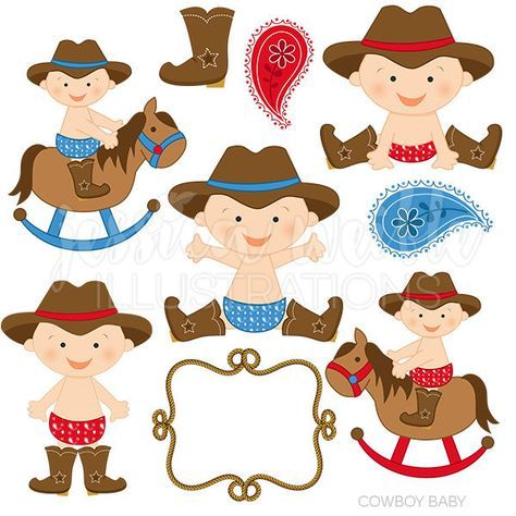 Baby boy cute digital. Boys clipart cowboy