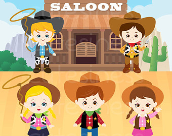 Boys clipart cowboy. Digital vector wild west