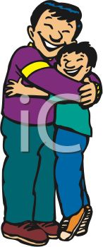 Boys clipart dad. Boy hugging father