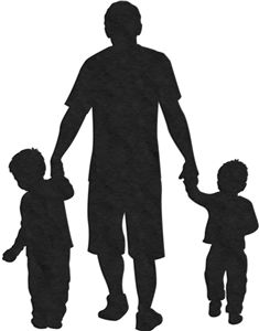 Father and son silhouette. Boys clipart dad