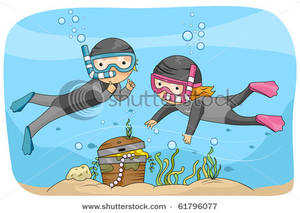 Scuba kids finding treasure. Boys clipart diving