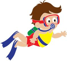 A male ascending to. Diver clipart
