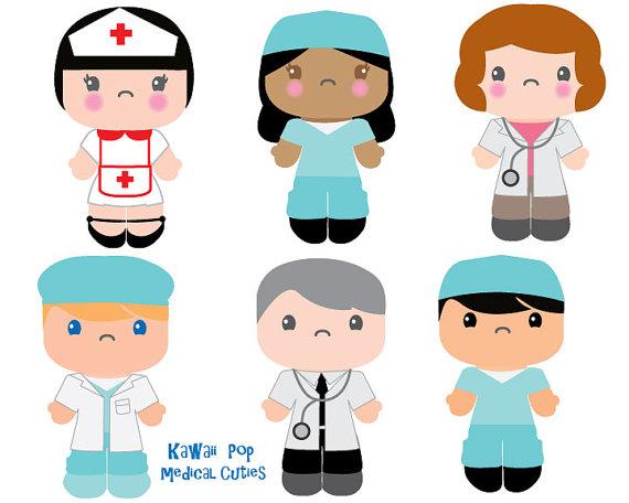 Cute Kids Clipart Kawaii Clip art Nurse Doctor clipart