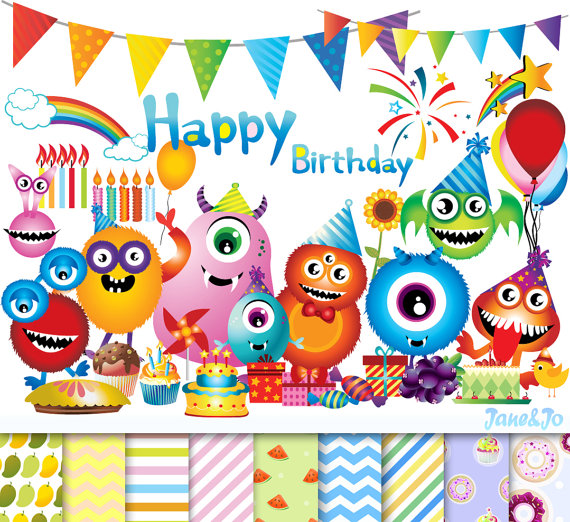 cliparts digital papers. Boys clipart happy birthday