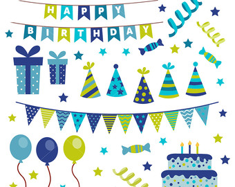 Boys clipart happy birthday. Etsy clip art cake