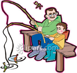 A and boy fishing. Boys clipart man