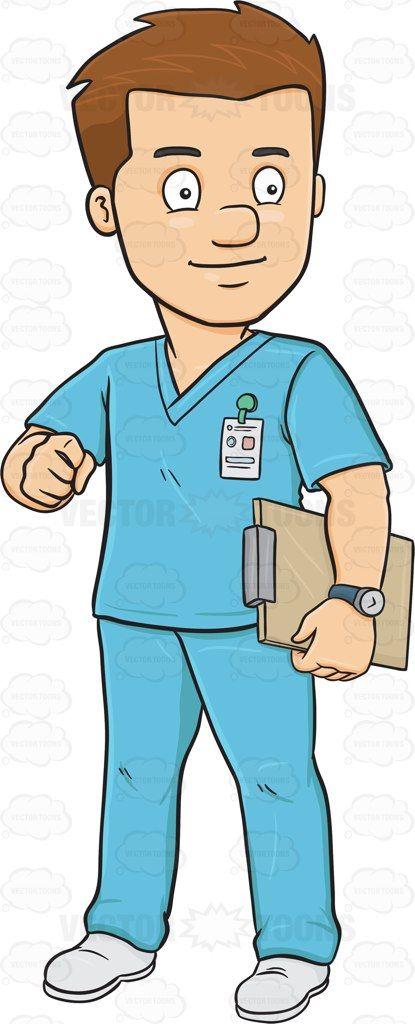A male in scrubs. Men clipart nurse