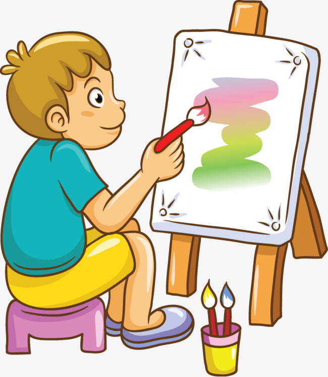 Boys clipart painting. Male students color ai