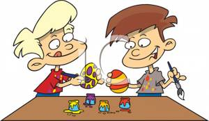 Two easter eggs royalty. Boys clipart painting