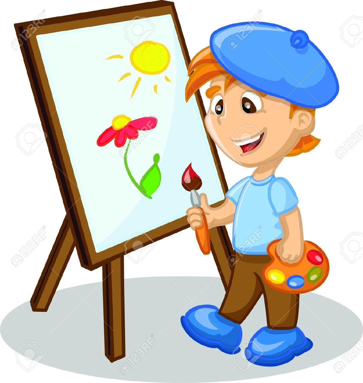 Painting cartoon google klipart. Paint clipart boy