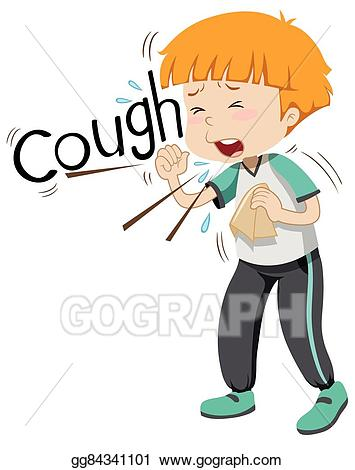 Vector art boy coughing. Boys clipart sick
