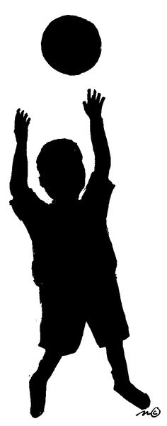 Boys clipart silhouette. Boy playing with airplane