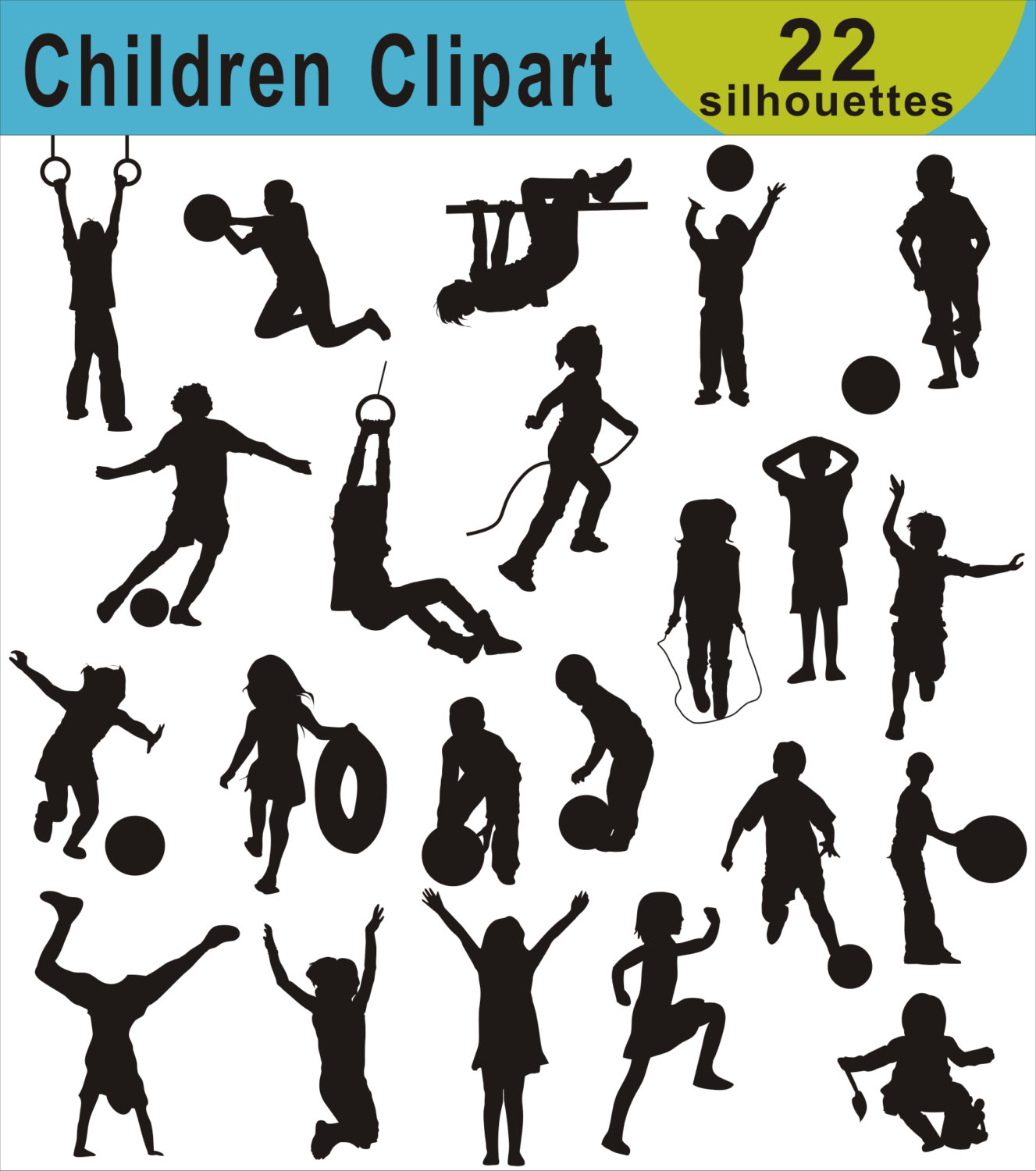 Boys clipart silhouette. Children clip art kids