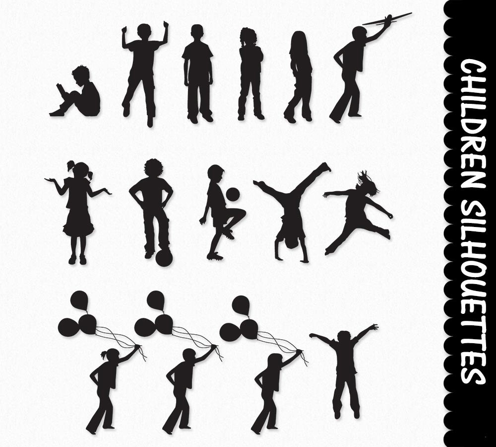 Children clip art kids. Boys clipart silhouette